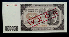 🍀GENUINE Polish Banknote 500 zloty UNCIRCULATED 1948  SPECIMEN WZOR