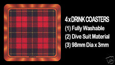 4  x  SCOTTISH TARTAN - CLAN - WALLACE - DRINK COASTERS - Re-usable Washable