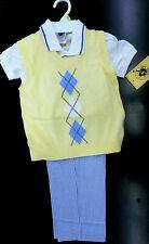 Boys Good Lad $62 Vest Polo Shirt & Sear Sucker Pants 3PC Set Sizes 4, 5, 6 & 7