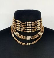 Miriam Haskell Signed Baroque Faux Pearl Drops Strand Gold Choker Necklace VTG