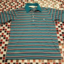 VTG 70's ~ Arnold Palmer Golf Tennis Shirt MEDIUM Striped Green Red Cotton Poly