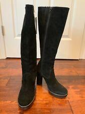 Michael Miachel Kors Black Suede Zip-Up Knee-High Leather Boots, Size 6.5