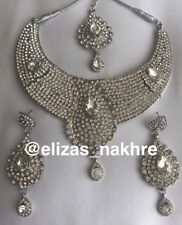 Silver Choker Necklace Set With Tika And Earrings Bollywood Style