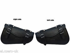 BOTH SIDED BLACK FAUX LEATHER HARLEY SPORTSTER CHOPPER SWINGARM TOOL BAGS