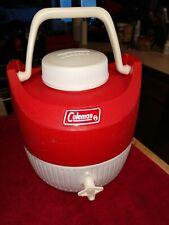 Vintage Coleman 70's Red/White 1 Gallon Drink Jug Cooler Water Dispenser Plastic