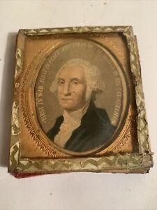 Antique  19c George Washington 1st  Portrait Chromolithograph Hand Painted