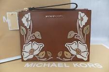 Michael Kors Medium Floral Embellished Pebbled Leather Pouch Wristlet Bag BNWT