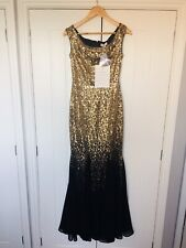New Goddiva Chiffon Sequin Ombre Maxi Long Prom Dress Black Gold Sz 8 Like Quiz