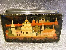 """Russian Lacquer box Kholui """" Old Town Suzdal """" miniature Hand Painted"""