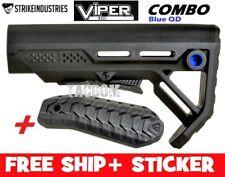 Strike Industries Viper BLUE QD MOD1 Compac Stock QD minimal + Rubber BUTT PAD 1
