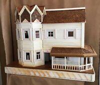 Vintage Handmade Dollhouse Folk Art storybook cottage wood doll antique house