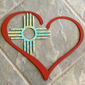 Zia Sun Heart Metal Wall Art Indoor/Outdoor Painted Red Turquoise Yellow Gift