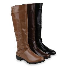 Damen Reiterstiefel Lack Leder-Optik Stiefel Nieten Boots 820249 Schuhe