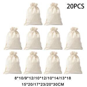 Coton Artisanal Cordon Sac Emballage Agenda Réutilisable Shopping de Rangement