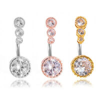 Cg_ Women 4 Cubic Zirconia Barbell Navel Belly Button Ring Piercing Jewelry love