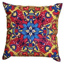 """Floral Aztec Blue Red Beige Multicolour Print Cotton 18"""" X 18"""" Cushion Covers"""