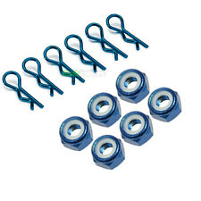 6 X RC Blue Car Body Clips 6 X M4 4mm Anodised Wheel Nuts 1/10 1/12 1/16 Tamiya