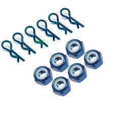 6 x pinzas de cuerpo de coche RC Azul 6 X M4 4mm Tuercas de Rueda Anodizado 1/10 1/12 1/16 Tamiya
