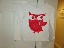 VGUC!!  Crazy 8 Ivory Long Sleeve Owl Shirt - Size Girls 10-12