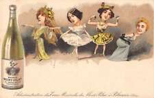 Fantasy Ladies Big Heads Mont-Pilat Mineral Water Ad Antique Postcard J70008