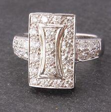 18ct Oro Bianco Diamante Designer Abito Anello. Pesante Bling. 1 CT carato. UK L US 6