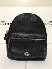 NWT Coach F38263 F28995 Mini Charlie Backpack In Pebble Leather Black $295