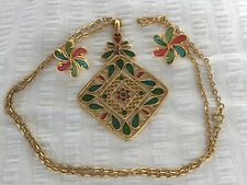 CrowN Trifari STAINED GLASS NecklacE & Earrings 'Plique A Jour' Vintage HTF...
