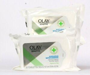 2 Packs Olay Sensitive Hungarian Water Essence Calming Makeup Remover 25 Count