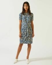 NEW - JIGSAW LADIES SPOT PRINT KNOT WAIST DRESS - SIZE SMALL  - BLUE