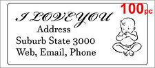 100 Personalised return address label mailing sticker 56x25mm baby boy girl