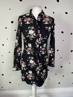 H&M 4 Ladies Floral Black Dress BNWT 3/4 Sleeves Button Up Waist Tie Above Knee
