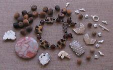 Jewelry Making Supplies*Ava Lot*Vintage Wood*Rhinestones*Bracelet *Jasper*Tibet