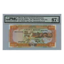 *jcr_m* MACAU MACAO 1000 PATACAS 1991 P.70a PMG MS-67 *UNCIRCULATED*