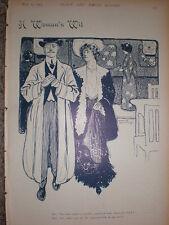 A Woman's Wit 1903 cartoon print