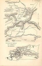 Guerra peninsulare Mappa / piano di battaglia BATTAGLIA ~ esplicativa schizzo & combattere di EL bodon