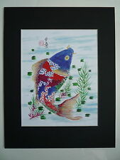 11x14 Colorful Koi Fish 1 good luck Feng shui Art Asian - Chinese Brush Painting