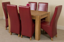 Kuba Chunky 125cm Kitchen Solid Oak Dining Table and 6 Burgundy Leather Chairs