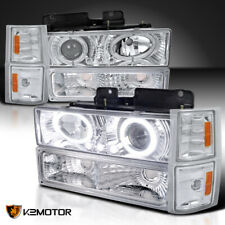 Fits 1994-1998 Chevy C10 C/K Tahoe LED Halo Projector Headlights+Bumper Signal