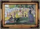 Seurat Sunday afternoon on La Grande Island Wood Framed Canvas Print Repro 12x18