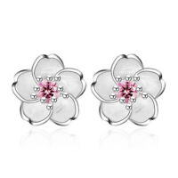 925 Silver Crystal Cherry Blossoms Flower Ear Stud Earrings For Women Girl Lady