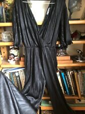 SIZE 10 BLACK PERMANENT PLEAT PLAY JUMP CAT SUIT FRILL HEMS PLUNGE SILKY JERSEY