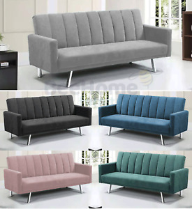 Velvet Modern Recliner Sofa bed Brand New Fabric 3 Seater Padded Sofabed Suite