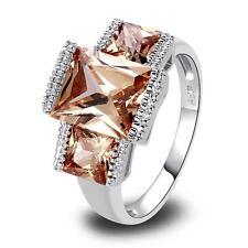 Emerald Cut Champpagne Morganite Gemstone Silver Plated Ring Jewelry Women Gift