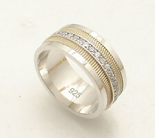 Size 6 CZ Eternity Yellow Milgrain Band Ring Real Solid 925 Sterling Silver