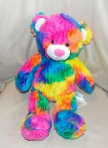 "Build A Bear Workshop Rainbow Tie Dye Teddy Multi-Color Neon Bright 17"""