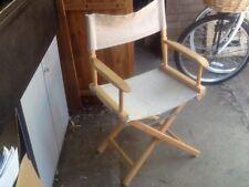 Rubberwood Folding Directors Armchair In Beige Canvass Fabric