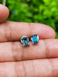 Natural London Blue TOPAZ 6.0x4.0mm Sterling 925 Stud Silver EARRINGS Octagon