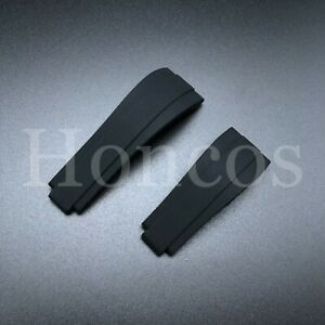 For 20 mm ROLEX OysterFlex Watch Rubber Silicone Strap Band Clasp Buckle Black