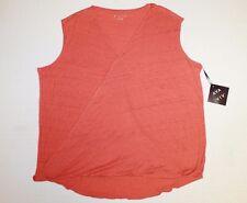 Ava & Viv Wrap Front Sleeveless Blouse Women's Plus Size 3X Color Corral