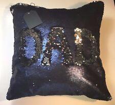 USshipMatte Navy/ Silver Sequin Pillow Mermaid Magic Glitter Reversible 16'' #16